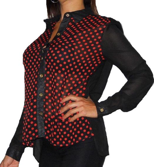 Camisa Gasa Lunares Rojos Elegante Oficina Botones Dorados