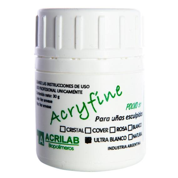 Acryfine Polimero Construcción Uña Esculpida Ultra Blanco 30