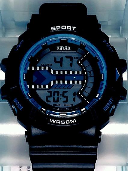 Relógio Digital Masculino Xj 879 Azul Original