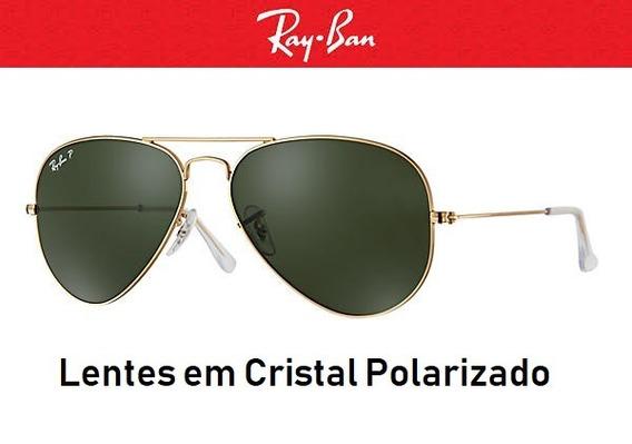 Ray Ban Aviador 3025 Polarizado Preto E Dourado Original