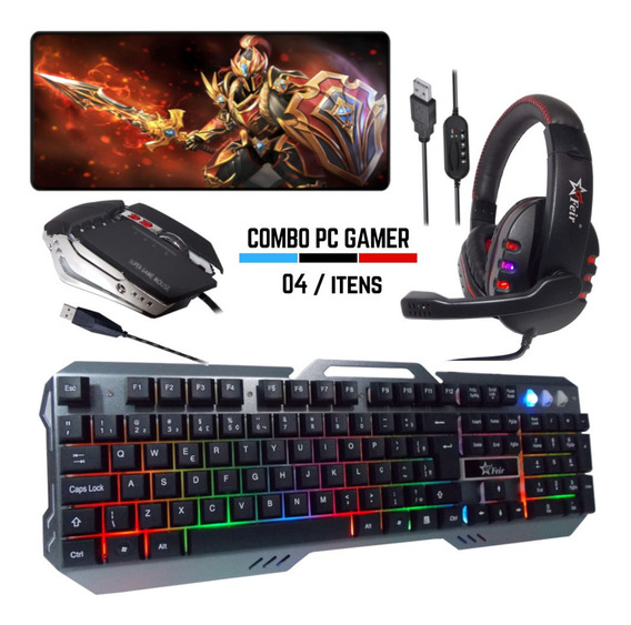 Kit Gamer Barato Teclado Mouse Headset Usb 2.0 Mousepad Pc