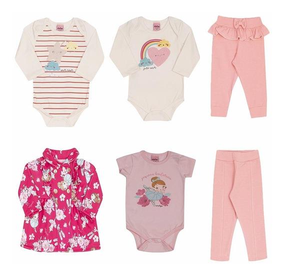 Lote Roupa Bebê Feminino Moletom Cotton Frio Qualidade P M G