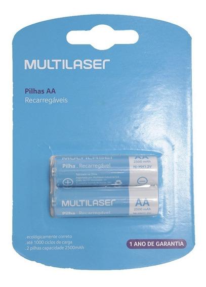 Pilha Recarregável 2a Com 2 Pilhas - Multilaser   Cb053