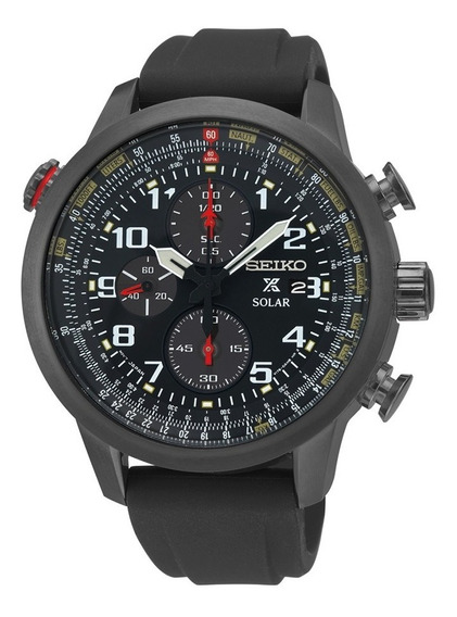 Relógio Seiko Ssc371 Flight Solar Black Ion Cronografo