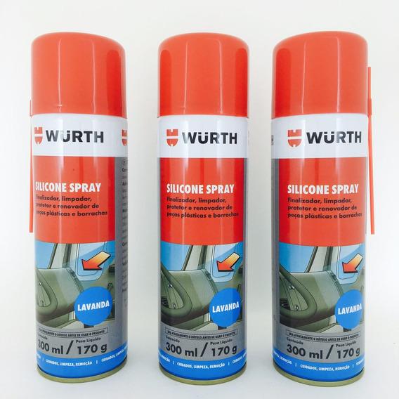 Kit Com 3 - Silicone Spray Wurth Lubrifica Esteira Moto Ind