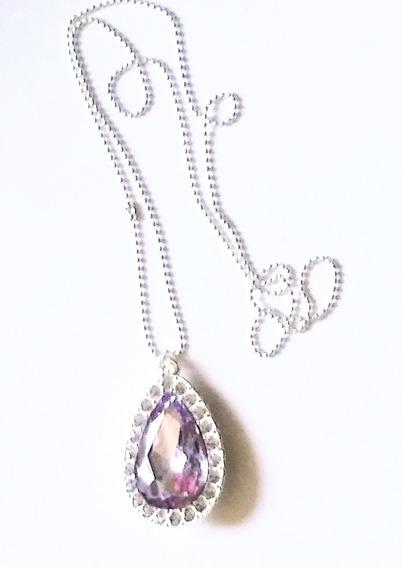 Collar Princesa Sofia Diamante Morado Metal Cristales
