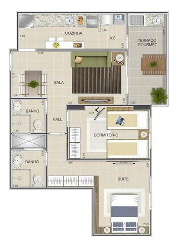 Imagem 1 de 12 de Apartamento, 2 Dorms Com 69.57 M² - Tupi - Praia Grande - Ref.: Vno43 - Vno43