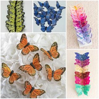 Mariposas Monarcas Decorativas, 12 Pzs, Varios Colores.