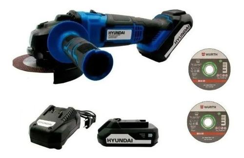 Imagen 1 de 4 de Amoladora A Batería Hyundai 115mm 20v C/bateria Y Cargador K