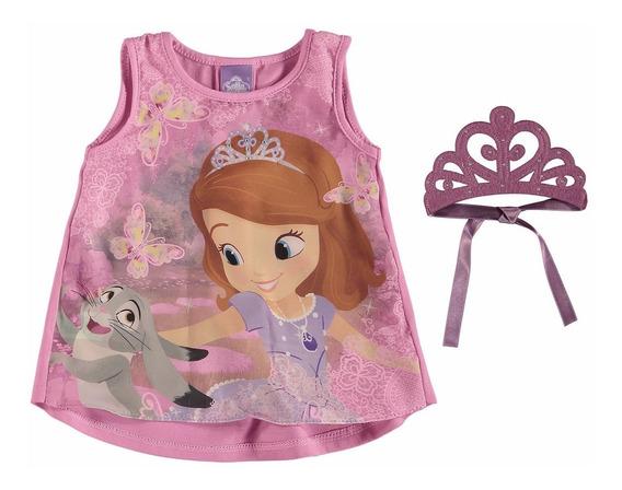 Blusa Princesinha Sofia Malwee Rosa Com Coroa E Strass