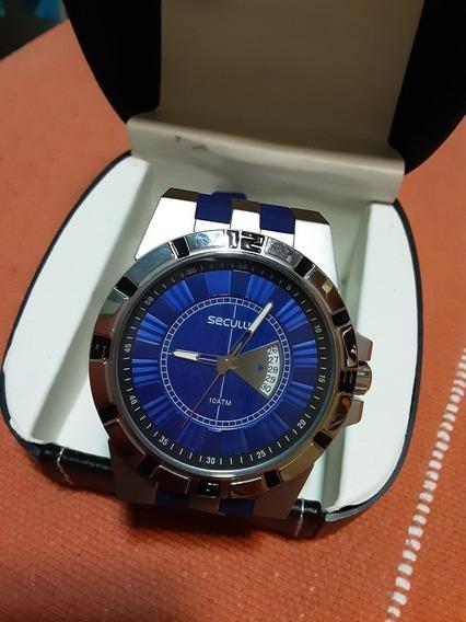 Relógio Seculus Azul - Caixa De Aço