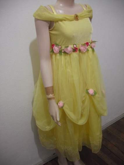 Vestido Infantil Princesa Bela Amarelo Disney Store Tm 10 12