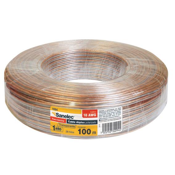 Cable Para Bocina 18awg Transparete Sanelec