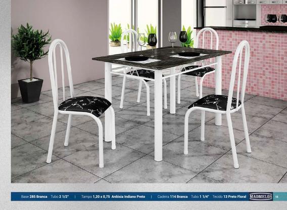 Mesa De Cozinha Com 4 Cadeiras 1,40 X 075 Preto Floral