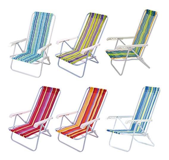 Kit 3 Cadeira De Praia 4 Posições De Aluminio