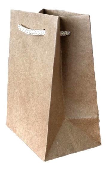 M-2 Bolsa Papel Kraft Asa Macrame Algodón 8x10.5cm 10pza