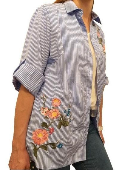 Camisa Camisola Larga Mujer Bordada Floreada Importada