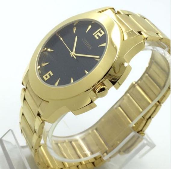 L) Relógio Citizen Banho Ouro Masculino Frete Grátis Promoção Oferta