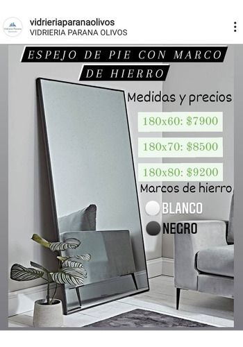 Espejo De Pie Con Marco De Hierro 1,80x60 Decorativo
