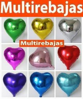 10 Globos Grandes Metalizados Corazón Unicolor 45 Cm
