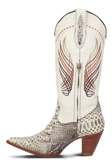 Bota Country Texana Silverado Exótica Couro Pithon Feminina