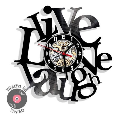 Reloj De Pared Elaborado En Disco De Lp Ref. Vive Ama Ríe