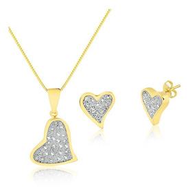 Conjunto Semijoia Coração Pedra Zircônia Ouro E Ouro Branco