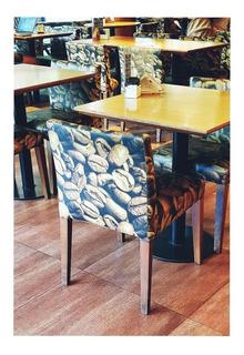 Silla Diseño Granos Cafe. Madera Y Tela. Calidad Premium.