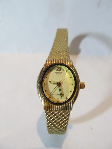 Lindo Relógio Citizen Quartz Dourado Feminino Arte Som