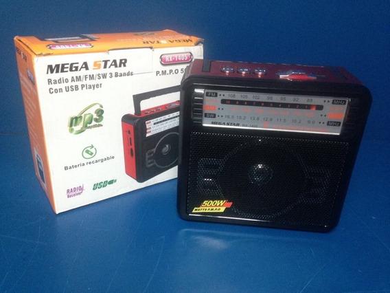 Rádio Portátil Rx1405 Am/fm/usb Bateria Recarregavel
