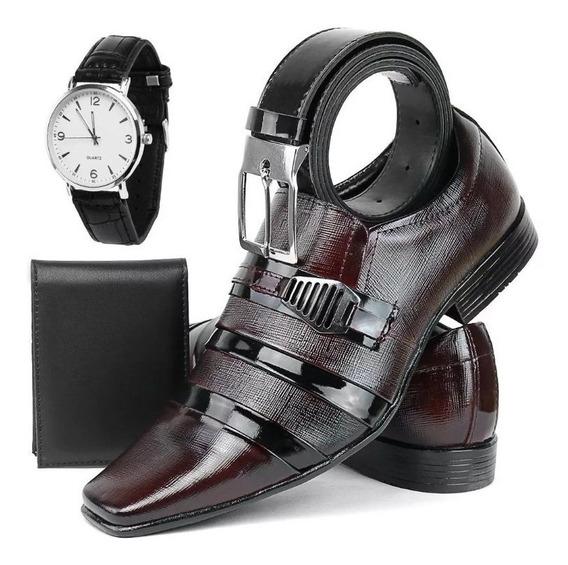 Sapato Social Masculino Couro Kit + Cinto Carteira E Relógio