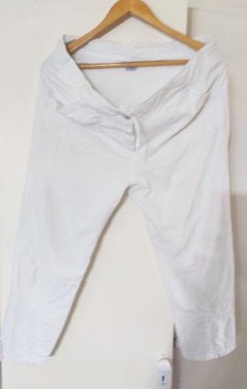 Pantalon Capri Algodon Crepe Mujer T 44 Botones Y Cordon