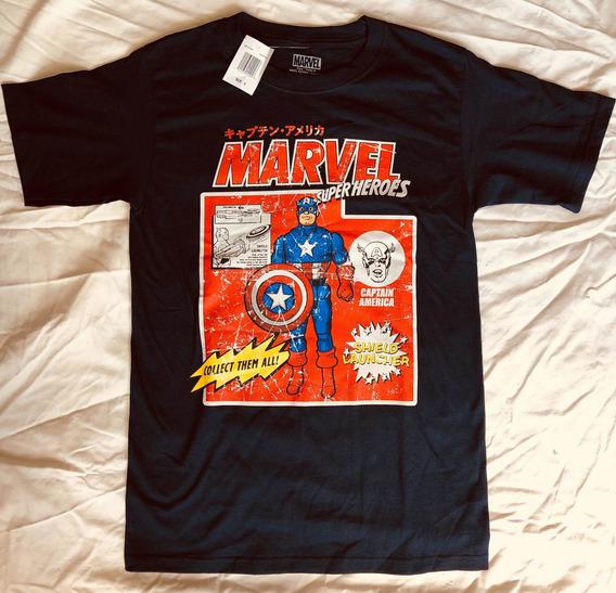 Remera Marvel Oficial Capitán America Estilo Retro Vintage
