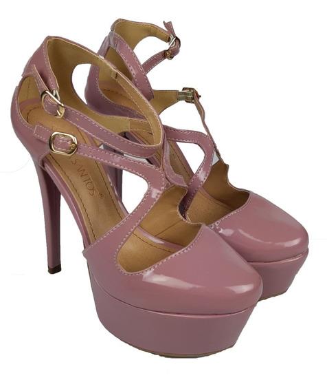 Sapato Plataforma Meia Pata Verniz Branco Noiva Rose Festa