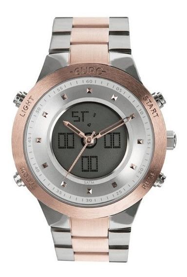 Relógio Euro Feminino Sporty Lux Bicolor Rosê Prata
