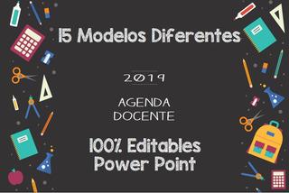 15 Agendas Docentes 2019 Digital, 100% Editable 15 Modelos!