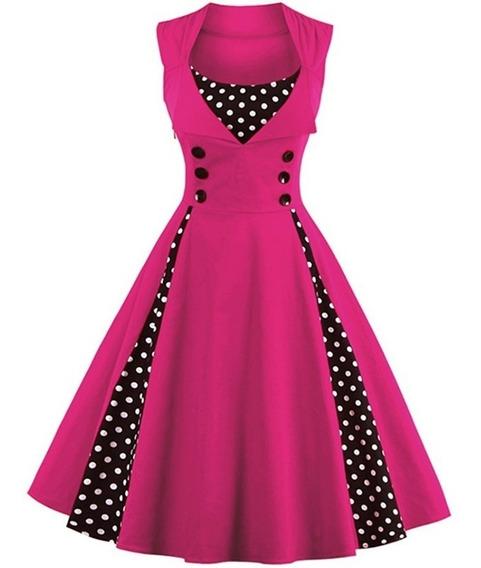 Vestido De Bolinha Anos 60 Retrô Vintage Plus Size Poa P01