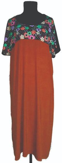 Vestido Modal Combinado Mangas Cortas