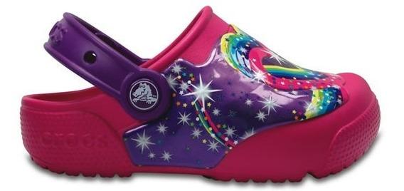 Zapato Crocs Niña Fun Lab Lights Stars Clog K Rosa