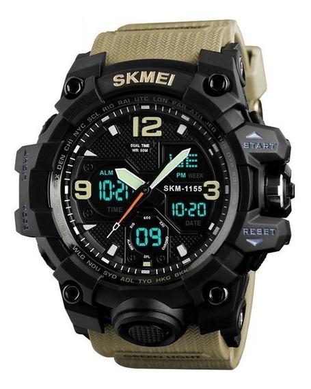 Relógio Analógico E Digital Skmei 1155 Caqui