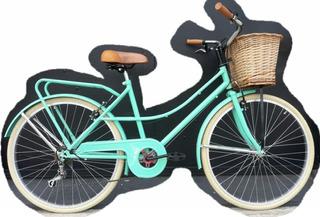 Bicicleta Paseo Rondinella Dama Vintage Portap Y 5 Cambios