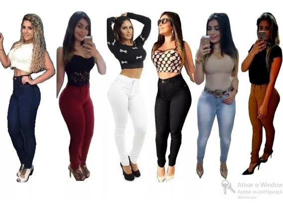 Calça Jeans Moda Feminina Cós Alto Hot Pant Levanta Bumbum