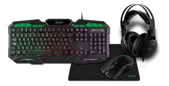 Kit Gamer Teclado Mouse Headset Mousepad 4 Em1 Xzone Gtc-02