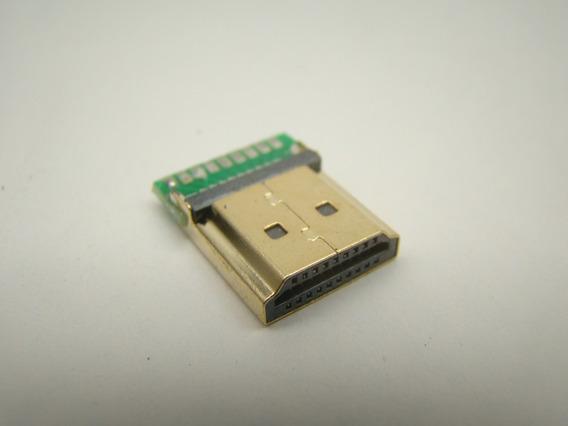 Kit C/ 100 Conectores Hdmi Macho Gold Solda Placa Reforçado