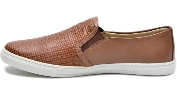Sapatilha Ana Flex Modelo Slip Flat Em Couro Confortável