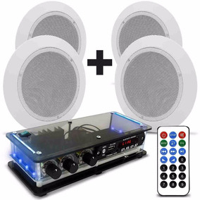 Kit Som Ambiente Amplificador Bluetooth + 4 Arandelas Gesso