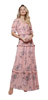 Vestido Feminino Longo Babados Fascinius Moda Evangélico