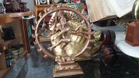 Escultura Indiana Em Bronze Em Alto Relevo 21 Cm 1,035kg