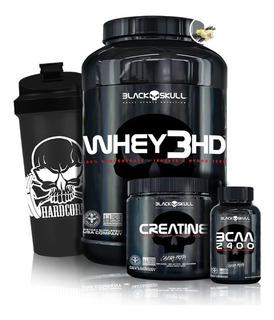 Whey 3hd 900g + Bcaa + Creatina 150g + Shaker - Black Skull