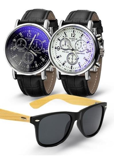 Kit 2 Relógios Yazole Classic 271 + Óculos De Sol Polarizado P/ Entrega Esspressa
